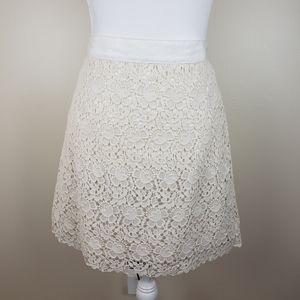 Loft Ivory Crochet Lace A-line Skirt, NWT, sz 10P
